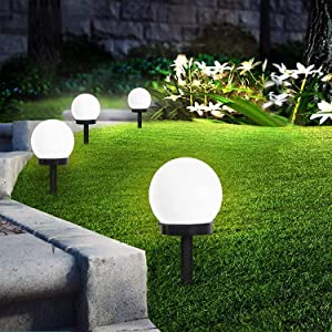 INCX Solar Lights Outdoor, 8 Pack LED Solar Globe Powered Garden Light Waterproof for Yard Patio Walkway Landscape In-Ground Spike Pathway Cool White
