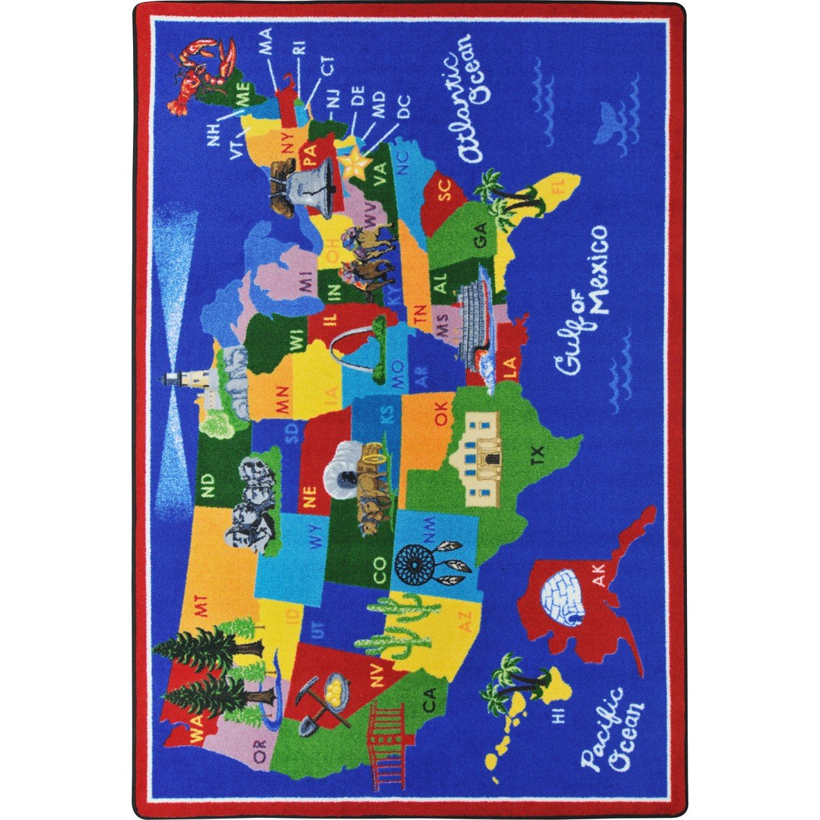 Joy Carpets Kid Essentials Geography & Environment America The Beautiful Rug, Multicolored, 5'4'' x 7'8'' by Joy Carpets