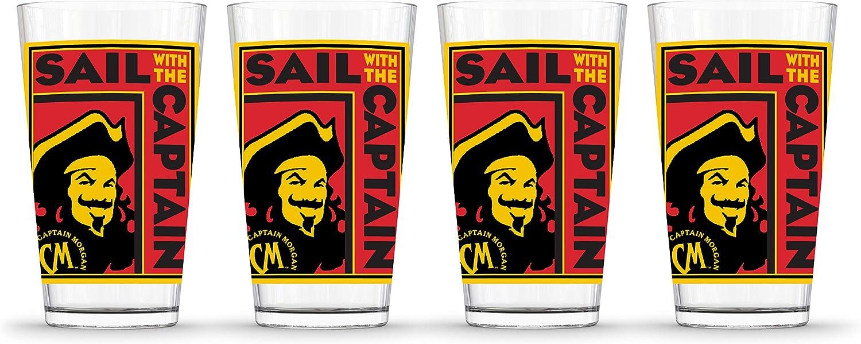 Amazon Com Captain Morgan Poster Pint 4 Pack 4 Piece Glass Set 16oz Clear Beer Glasses