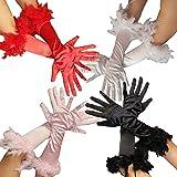 FO1030x   Federhandschuhe für Damen   in den Farben rosa, rot, schwarz und weiss   Damen Handschuhe Feder pink Handschuhe 20er Jahre Edel Federn Glamour Mafia Gangster, Farbe:Rot