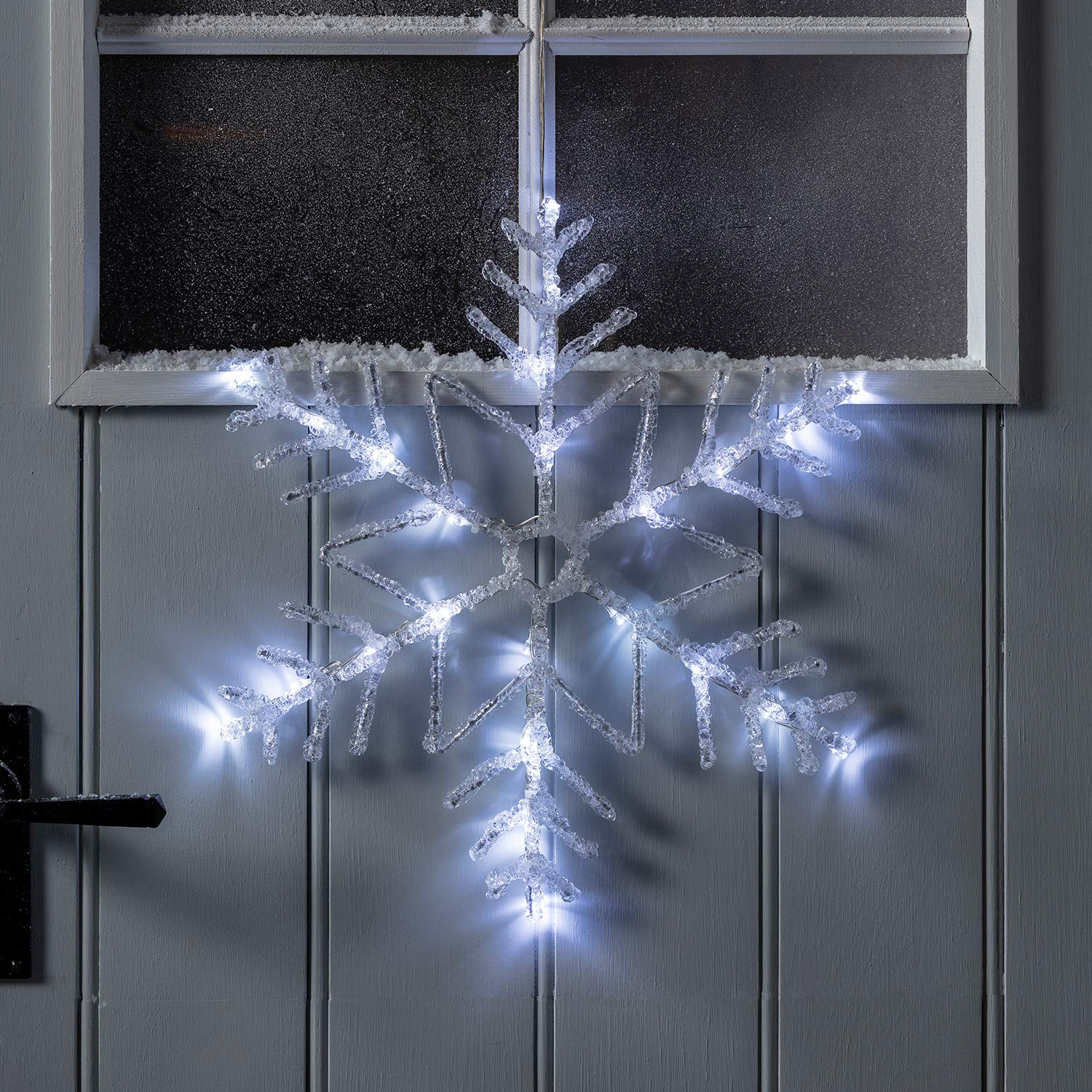 "Lights4fun Inc. 16"" White LED Battery Operated Snowflake Outdoor Christmas Window Light Decoration"