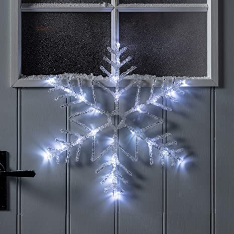 Lights4fun Inc 16 White Led Battery Operated Snowflake Outdoor Christmas Window Light Decoration