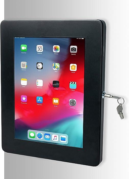 "Tablet Mount, CTA Digital Premium Locking On-Wall Flush Mount for iPad 10.2-Inch (7th Gen.), iPad Air 3 (2019), iPad Gen. 6 (2018), Galaxy Tab S3 9.7"", and More, Black"