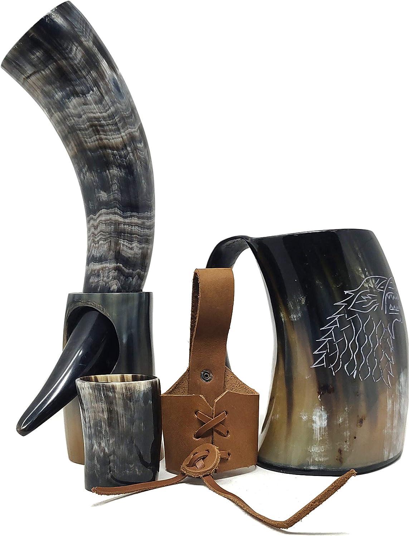 Bhartiya Handicrafts Goblets Viking Beber Horn Taza para cerveza, Mead, Ale, cerámica inspirada en medieval, apta para alimentos | Juego de Tronos Cuerno con soporte 14'' Large Kit de bocina