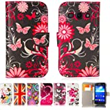 32nd® Designer book wallet PU leather case cover for Samsung Galaxy Ace 3 S7270 + screen protector and cloth - Gerbera