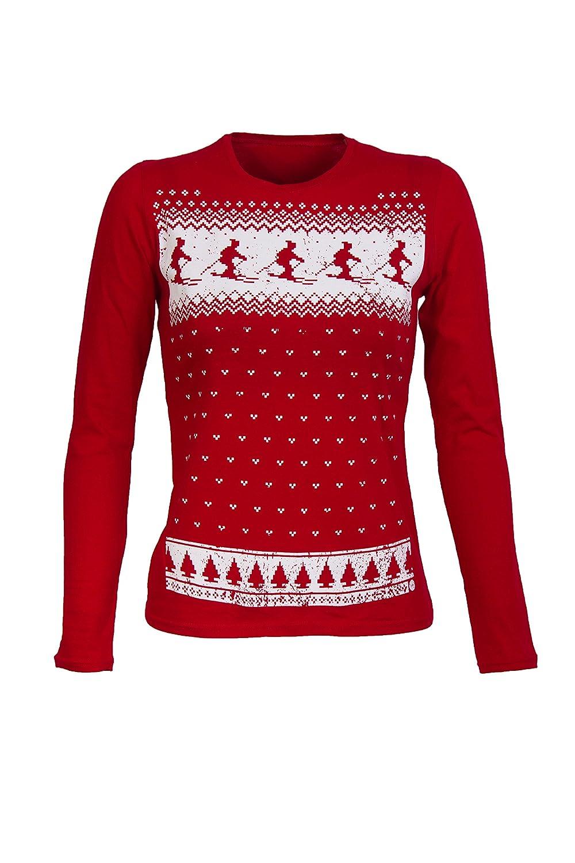 Womens Retro ski long sleeved fair isle top - Red: Amazon.co.uk: Clothing