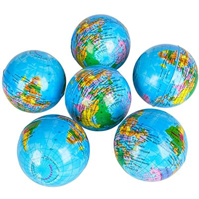 "RI Novelty Earth Globe 3"" Squeeze Ball - 6: Toys & Games"