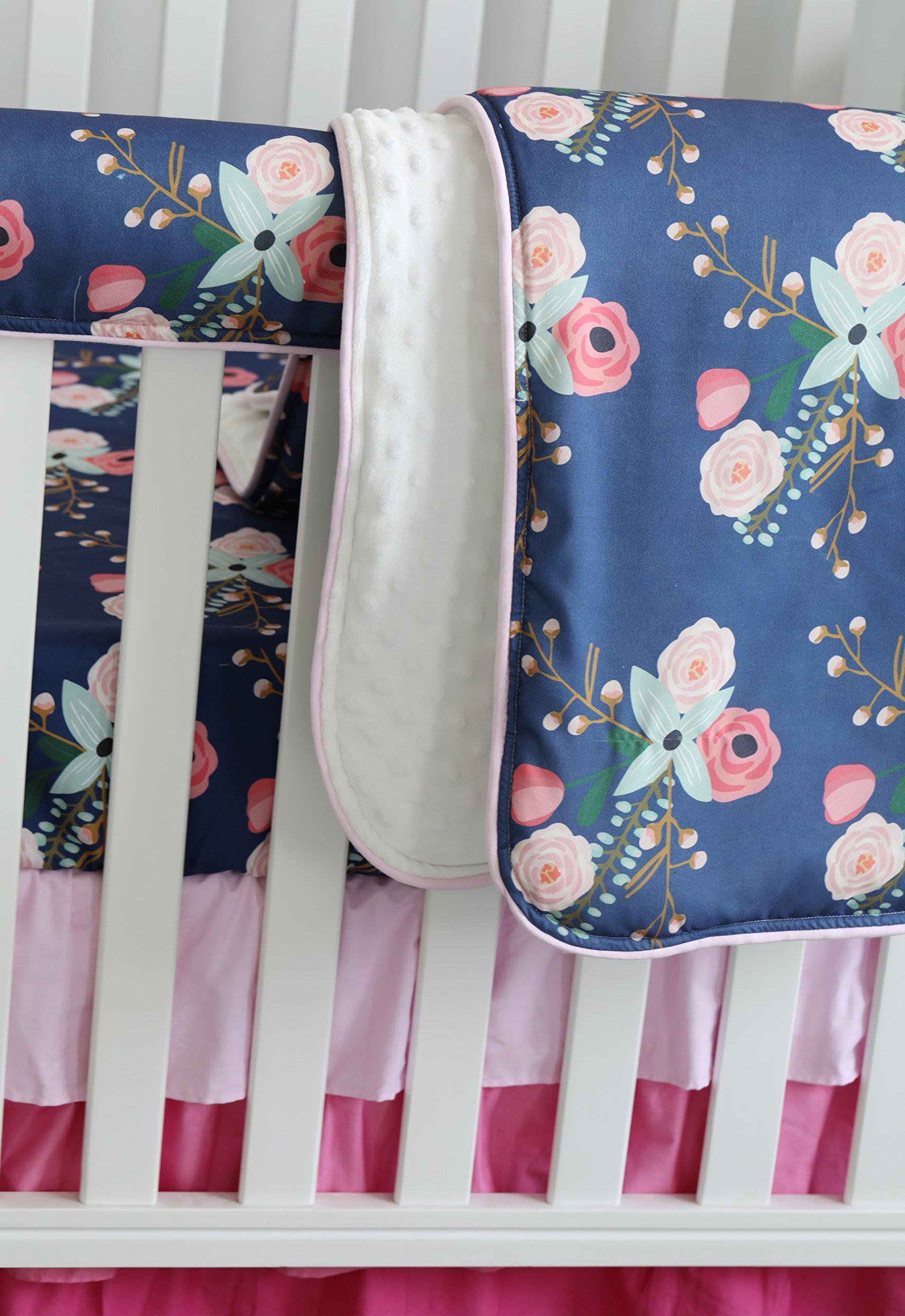 3 pcs set Boho Floral Ruffle Baby Minky Blanket Water color, Peach Floral Nursery Crib Skirt Set Baby Girl Crib Bedding (Navy Blue)