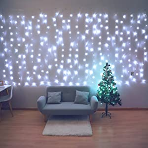 Fiee Curtain Lights,13ftx6.5ft Safety Window Curtain Icicle String Lights with Memory 30V 8 Modes for Christmas Wedding Party Home Garden Bedroom Outdoor Indoor Wall Decorations,White