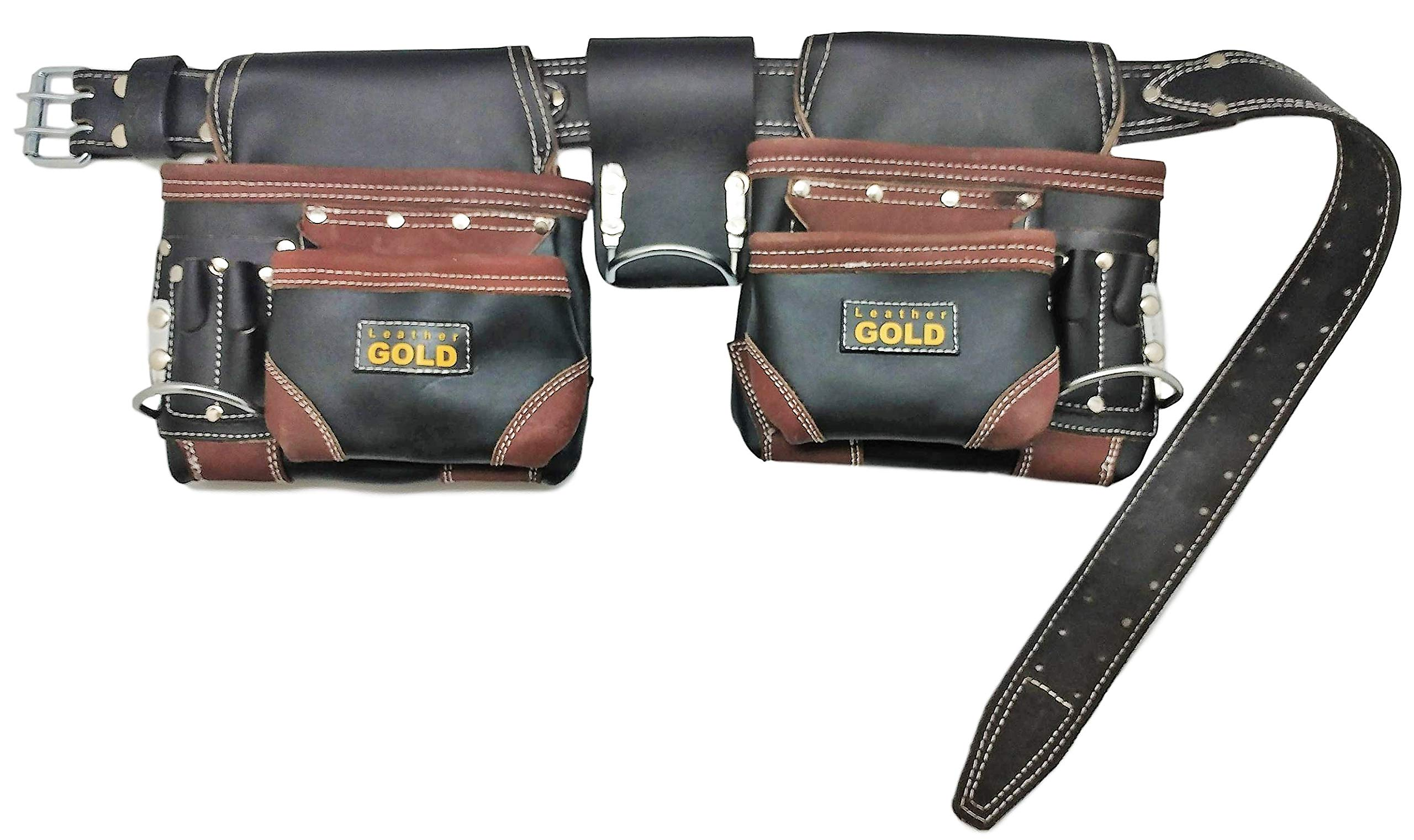 Leather Gold Genuine Leather Framer's Rig Tool Belt 3450 Black, with 10 Sliding Pouches and 3 Hammer Holders | Built Tough for Construction Work | Comfortable All Day | Commercial Grade Quality by Leather Gold