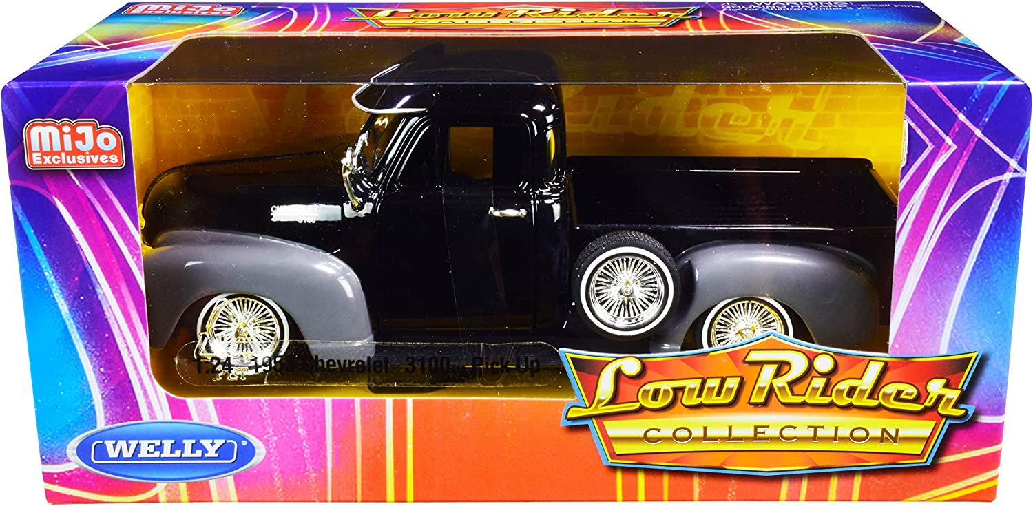 1953 Chevy 3100 Pickup Truck Black and Gray Low Rider Collection 1//24 Diecast Model Car by Welly 22087