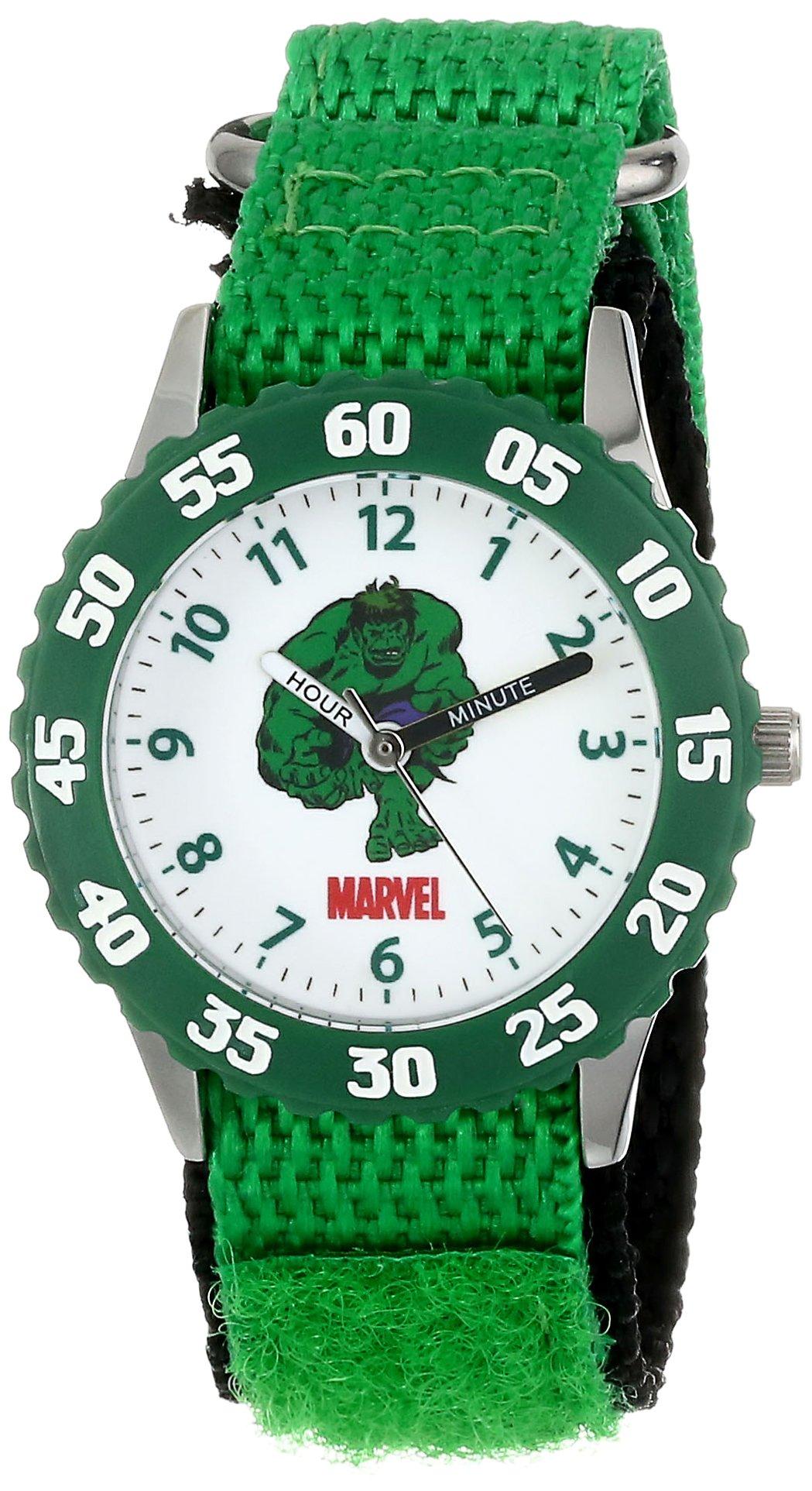 Marvel Kids' W001478 Hulk Stainless Steel with Green Bezel, Green Nylon Strap, Analog Display, Analog Quartz, Green Watch by Marvel