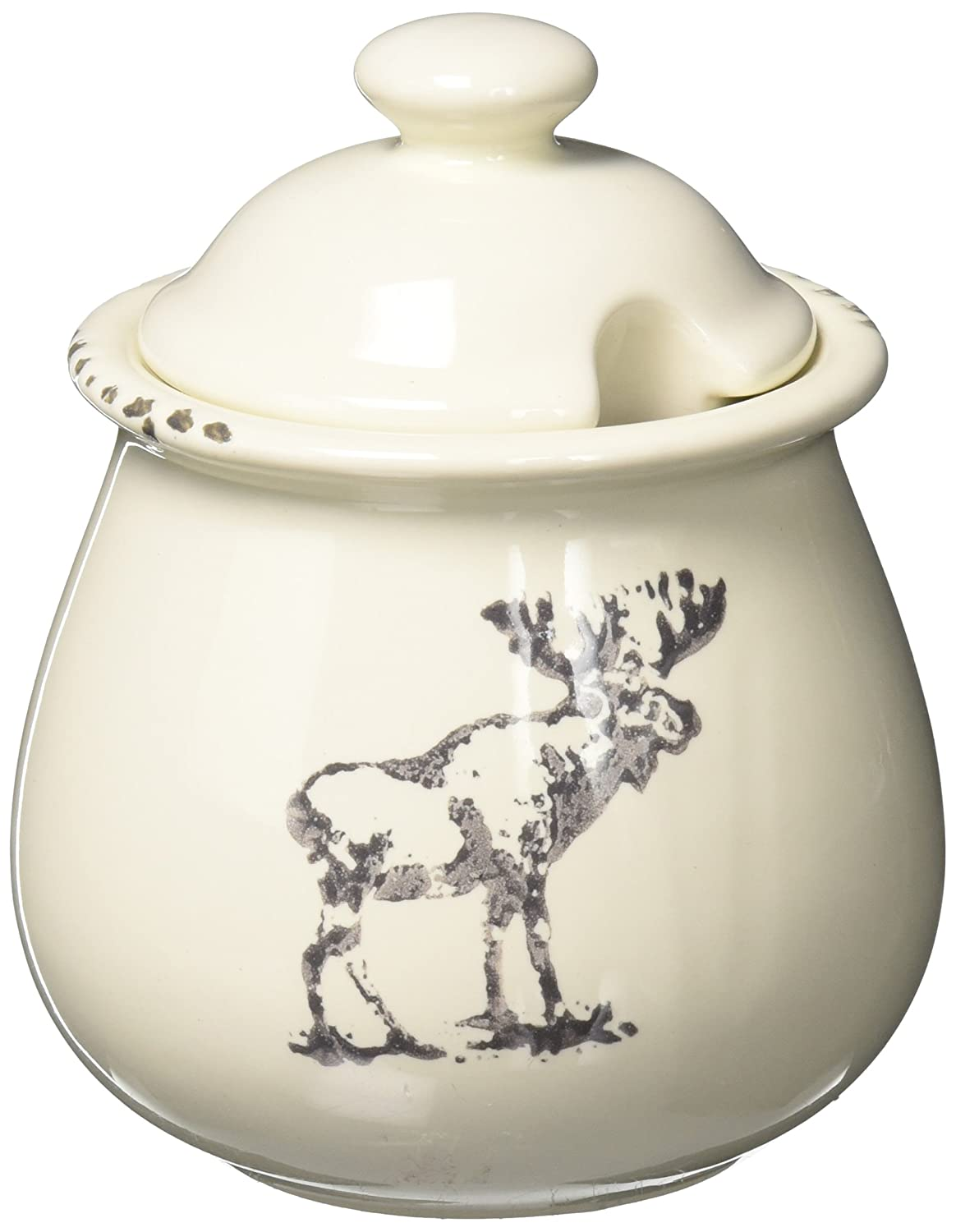 Abbott Collection Algonquin Stoneware Moose Covered Jar 27-ALGONQUIN/JAR