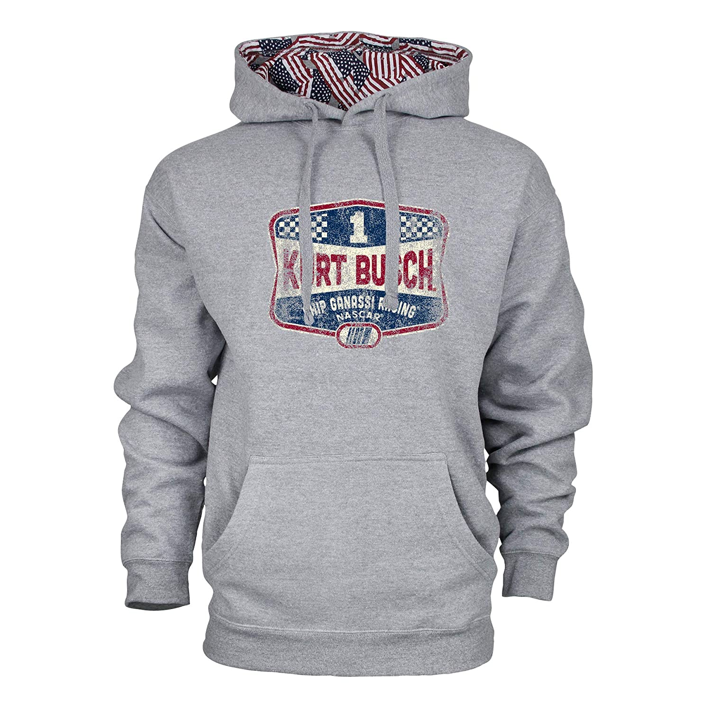 NASCAR Mens Benchmark Colorblock Pullover Hood Kurt Busch Medium Premium Heather//Flag//Vintage