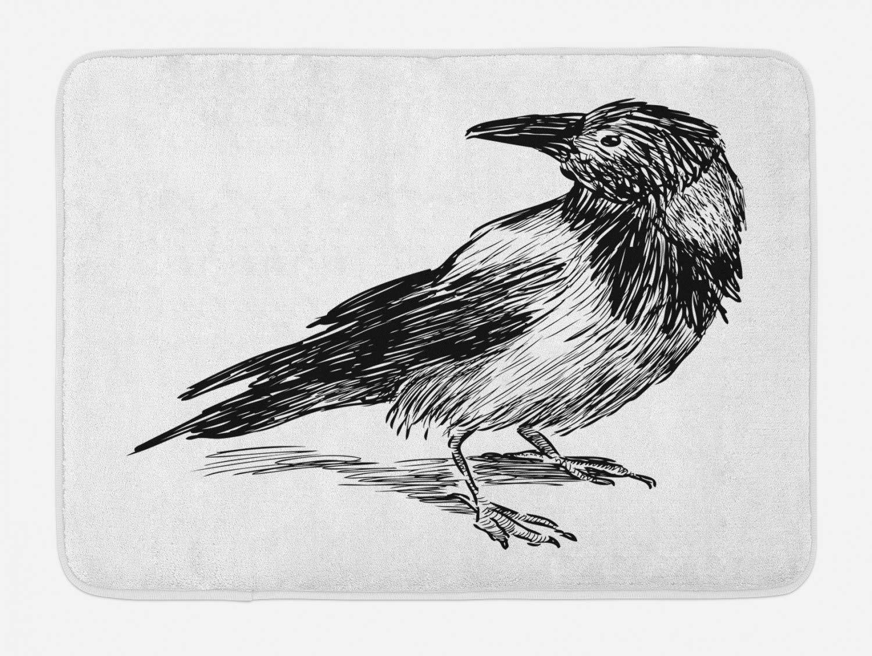 Lohebhuic Sketch Print of a Single Big Crow Bird Hand Drawn Style Wildlife Animal Artwork Plush Bathroom Decor Mat with Non Slip Backing,46.8'' W by 62.4'' L
