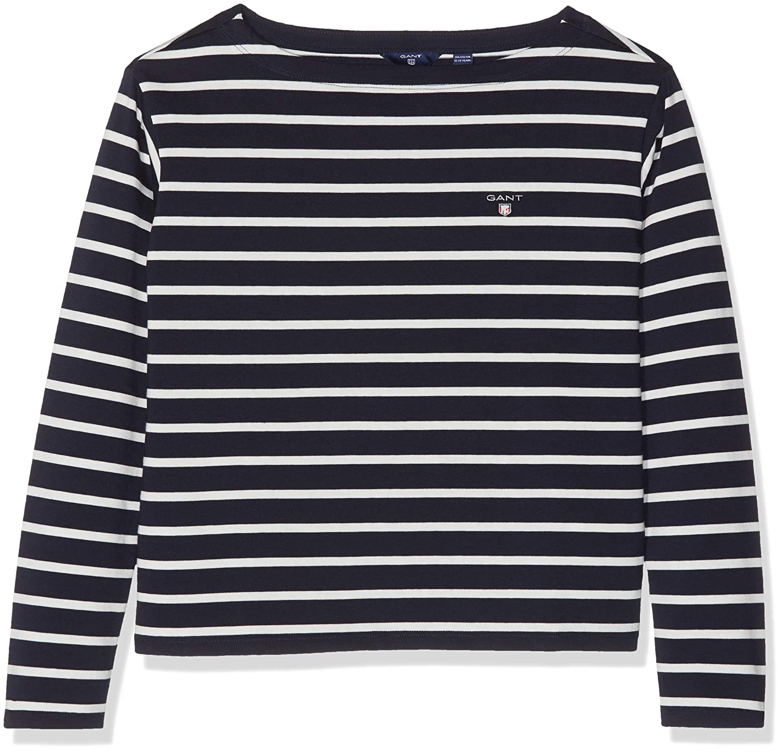 Breton Stripe Boatneck LS Top Maglia a Maniche Lunghe Bambina Gant Tg
