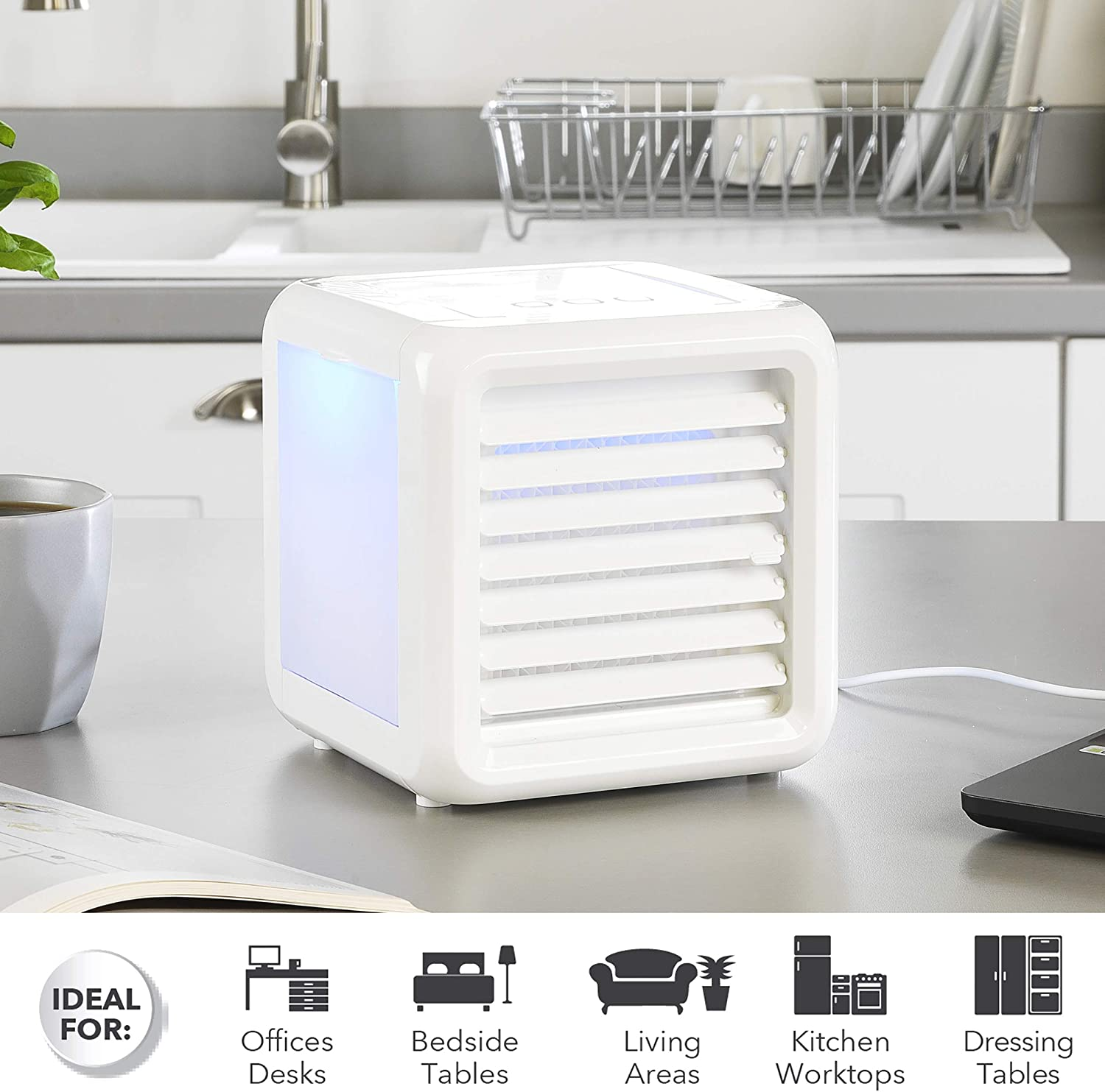 Set of 2 600ml 5 W Beldray/® COMBO-5280 Ice Cube Plus+ Personal Table Top Air Cooler with LED Lights