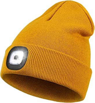 Gray 2 Pieces LED Unisex Hat Beanie Cap with 3 White Light Modes Light Up Hat Hand-free Flashlight USB Rechargeable Unisex Winter Knit Cap Warmer Hat