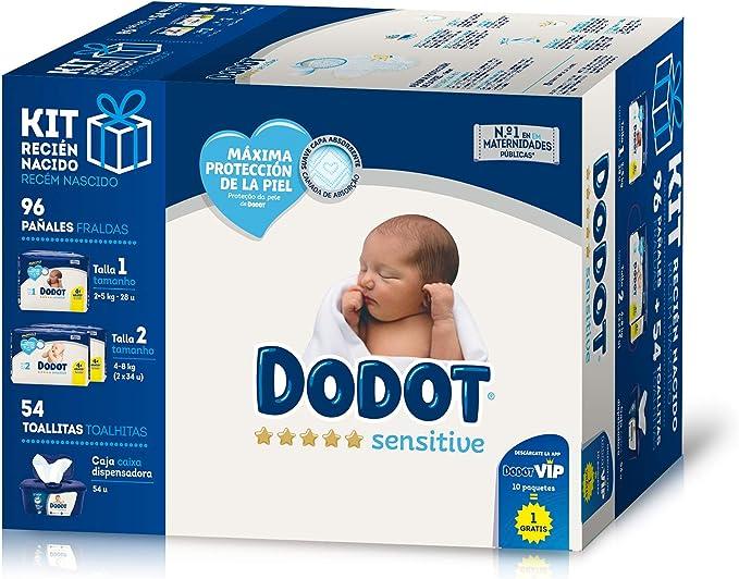 Dodot Sensitive Kit Recién Nacido: 28 pañales talla 1, 2-5 kg + 68 pañales talla 2, 4-8 kg + 54 Toallitas con caja dispensadora: Amazon.es: Salud y cuidado personal