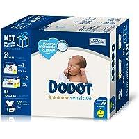 Dodot Sensitive Kit Recién Nacido: 28 pañales talla 1, 2-5 kg + 68 pañales talla 2, 4-8 kg + 54 Toallitas con caja…