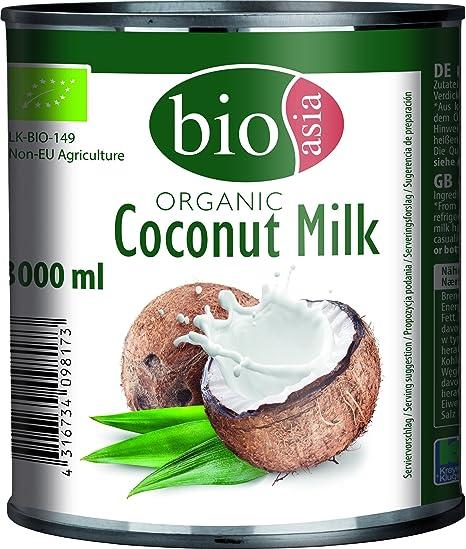 Bioasia Leche de Coco Orgánica, Contenido de Grasa 18% - Paquete de 6 x