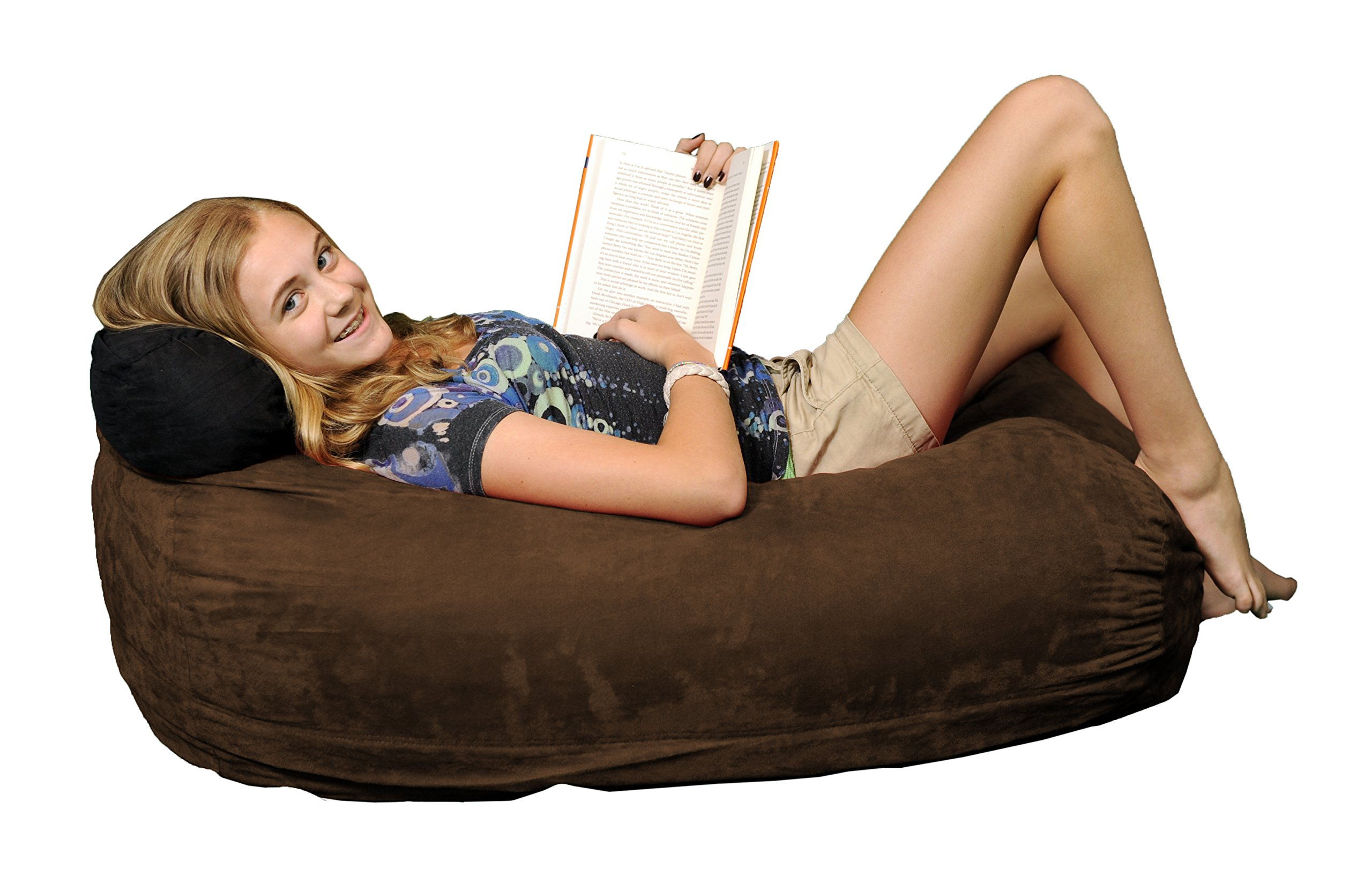 Chill Sack Bean Bag Chair: Large 4' Memory Foam Furniture Bag and Large Lounger - Big Sofa with Soft Micro Fiber Cover - Chocolate