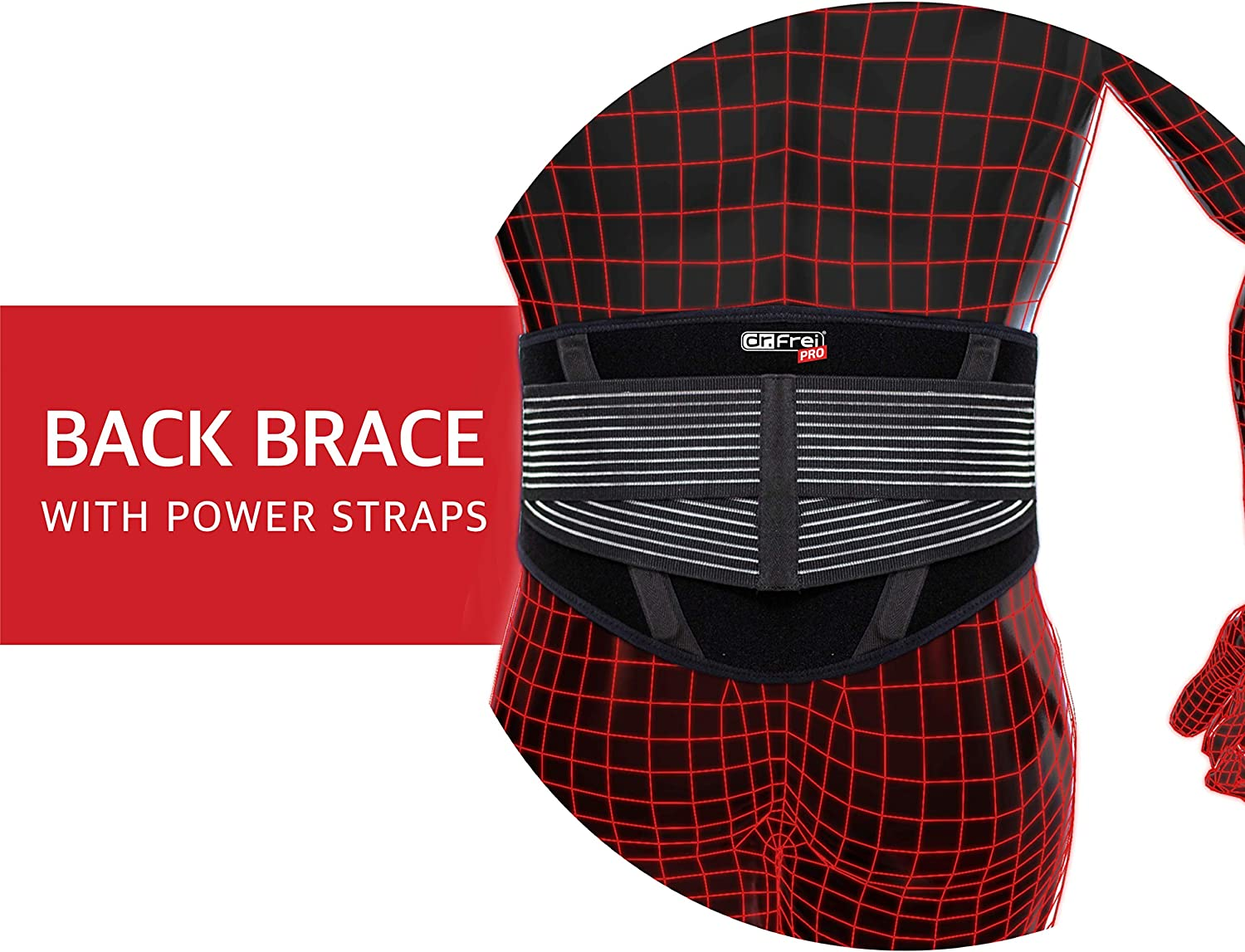 Frei Pro Back Brace with Adjustable Power Straps for Pain Relief dr One Size Fits Most