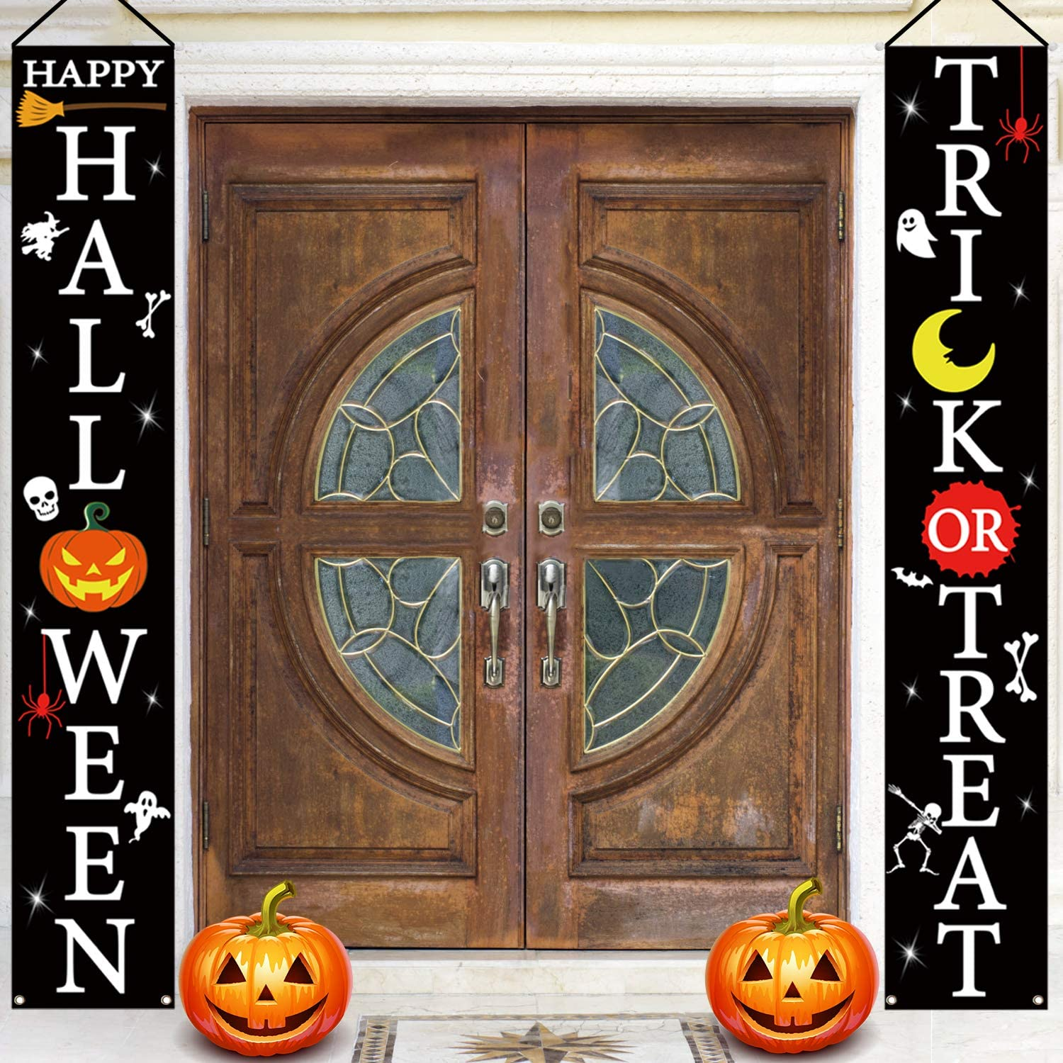 Monsoon Halloween Front Door Porch Decorations   Trick or Treat & Happy Halloween Hanging Signs for Home Yard Outdoor Decor   Halloween Welcome Signs