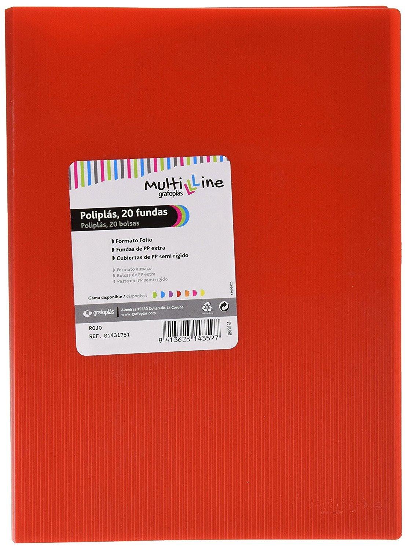 color rojo Grafopl/ás 01431751-Carpeta de fundas Multiline 10 fundas tama/ño folio