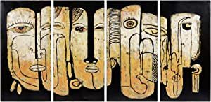 Empire Art Direct Totem Poles Metal, Hand Painted Primo Mixed Media Iron Sculpture, Decor,Ready to Hang,Living Room, Bedroom & Office 3D Wall Art, 64 in. x 1.6 in. x 32 in, Black,Tan