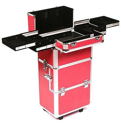 Urbanity – Maletín de maquillaje (aluminio con ruedas, color rosa de cocodrilo