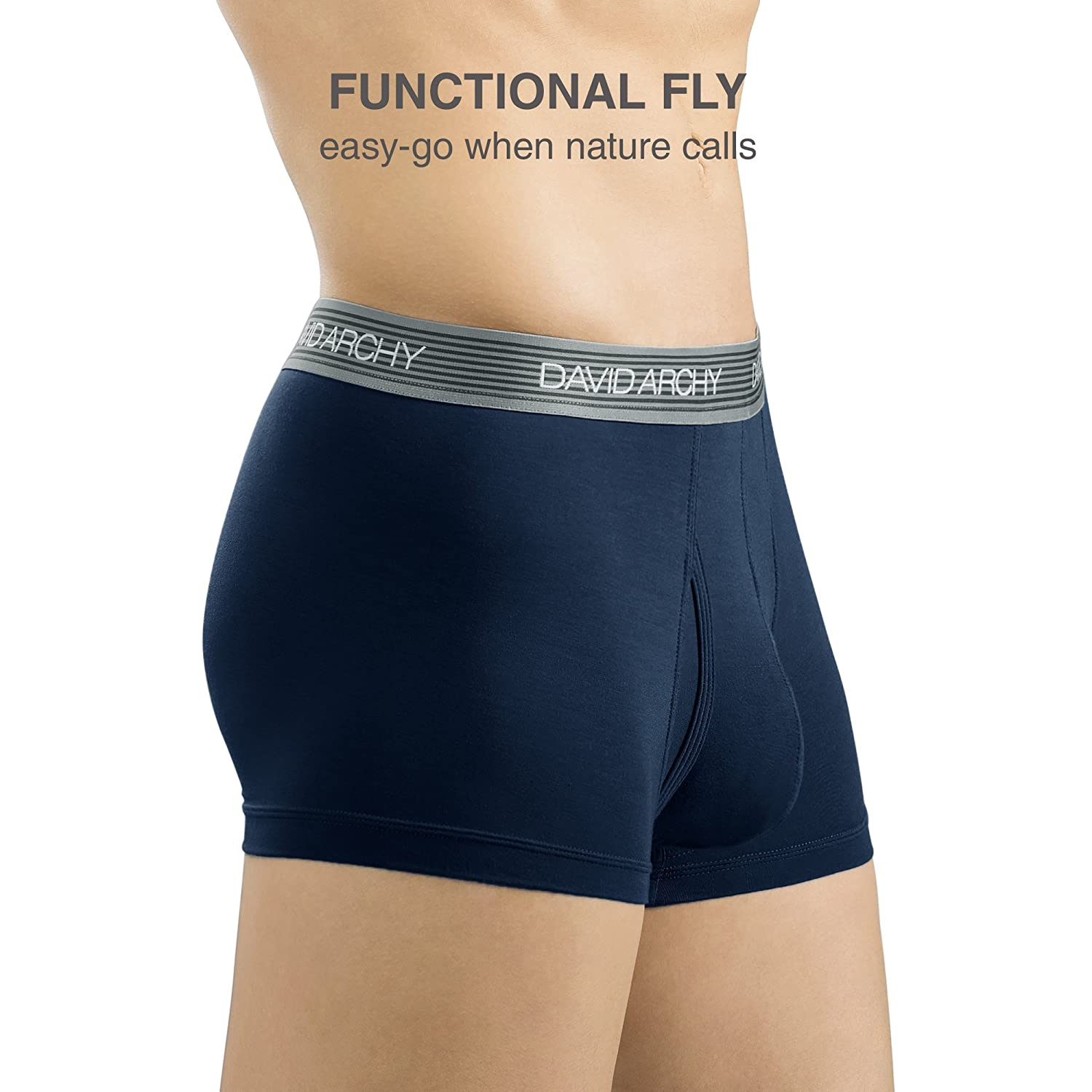 David Archy Mens 4 Pack Ultra Soft Micro Modal Underwear Breathable Trunks with Fly