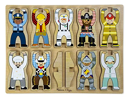 Amazoncom Melissa Doug Occupations Wooden Chunky Puzzle And