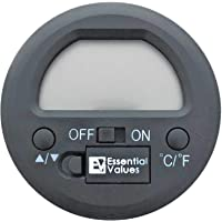 Essential Values Round Digital Cigar Hygrometer for Humidors - Battery Included with 1% Temperature Accuracy and +/- 5% RH Readings - Designed for Travel and Traditional Humidors