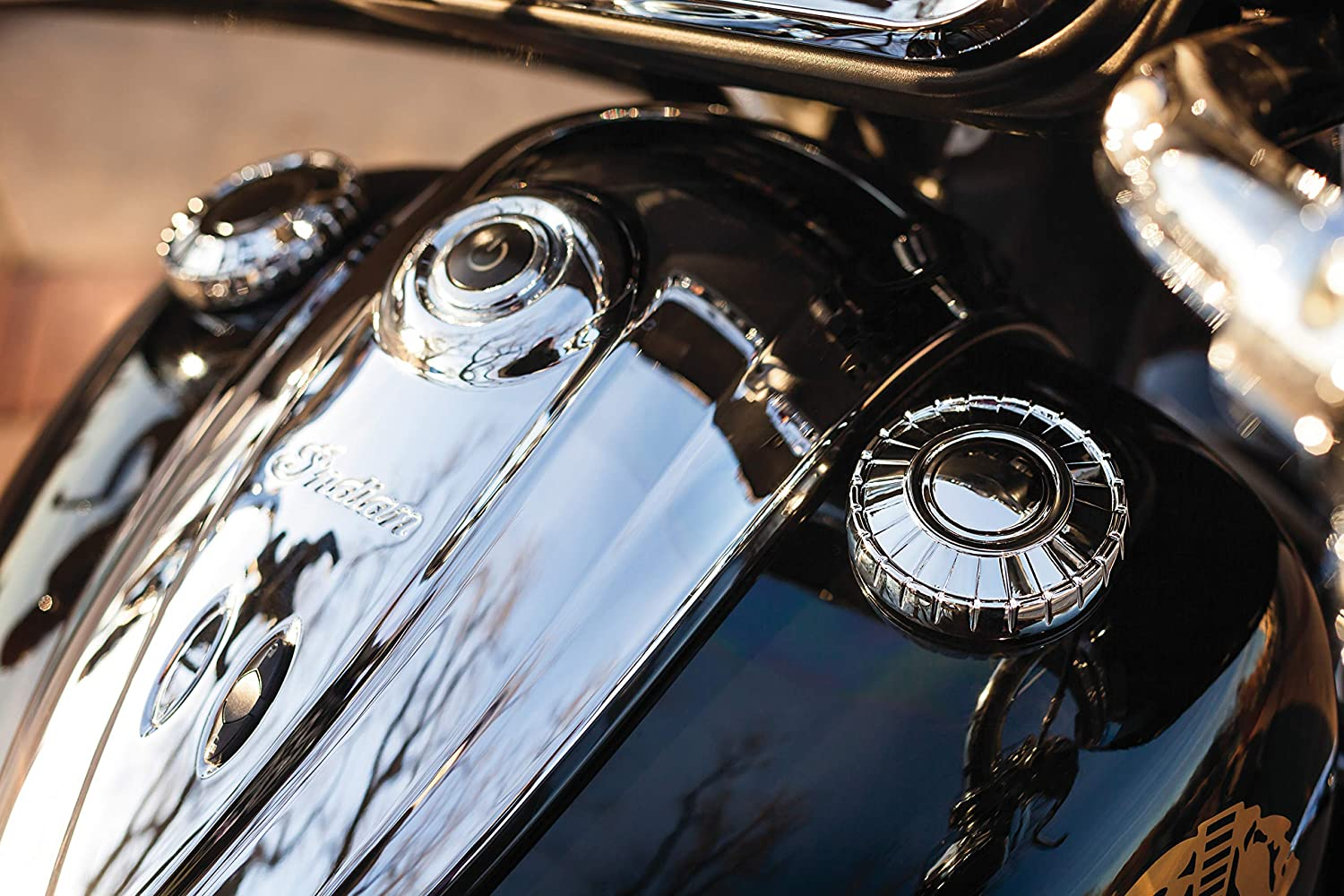Kuryakyn 7387 Motorcycle Accent Accessory Chrome Aztec Fuel Caps for 2014-19 Indian Motorcycles 1 Pair