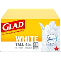 Glad White Garbage Bags - Tall 45 Litres - with Febreze Fresh Clean Scent, 60 Trash Bags (packaging may vary)