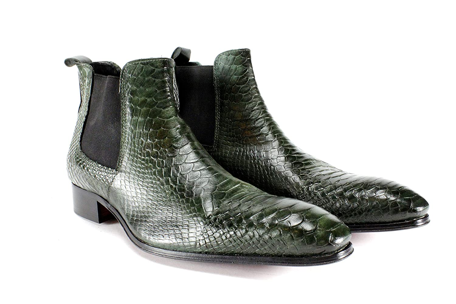 c732bb44af223 Ivan Troy Ose Green Embossed Crocodile Handmade Men's Shoes/Italian Leather  Dress Shoes Boots