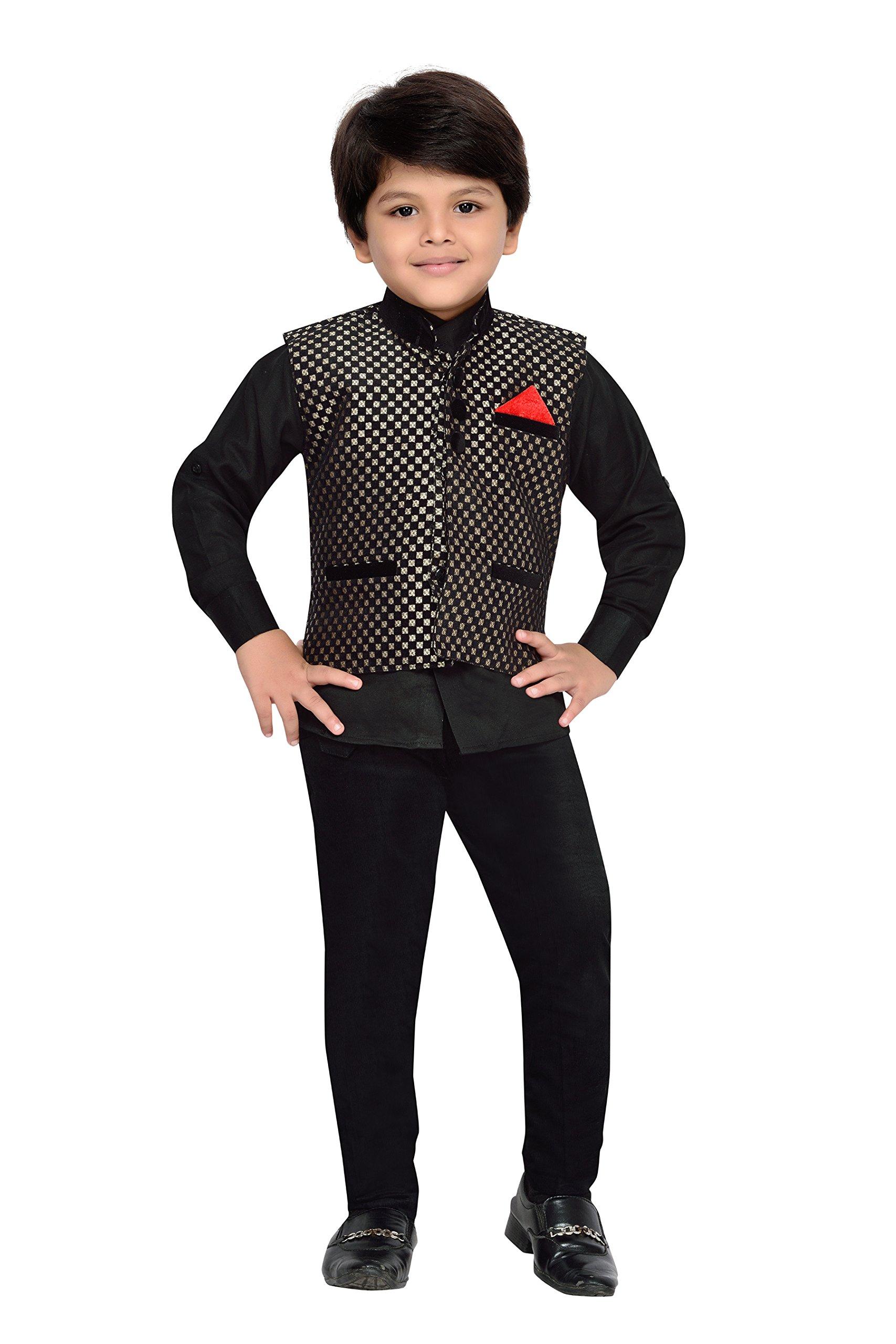 AJ Dezines Kids Indian Wear Bollywood Style Shirt Waistcoat and Pant for Boys (665-BLACK-4)