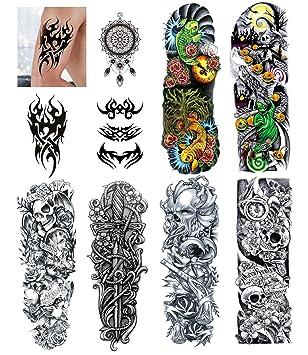 10 Hojas De Brazo Completo Y Medio Brazo Tatuajes Temporales Brazo Falso Pecho De Hombro Tatuajes Temporales Grandes Para Hombres Y Mujeres Beauty