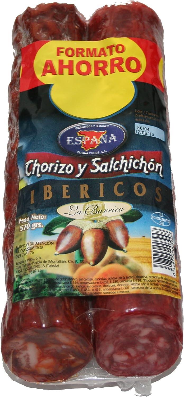 España Embutido Chorizo y Salchichón Ibérico - Paquete de 2 x 450 gr - Total: 900 gr: Amazon.es: Alimentación y bebidas