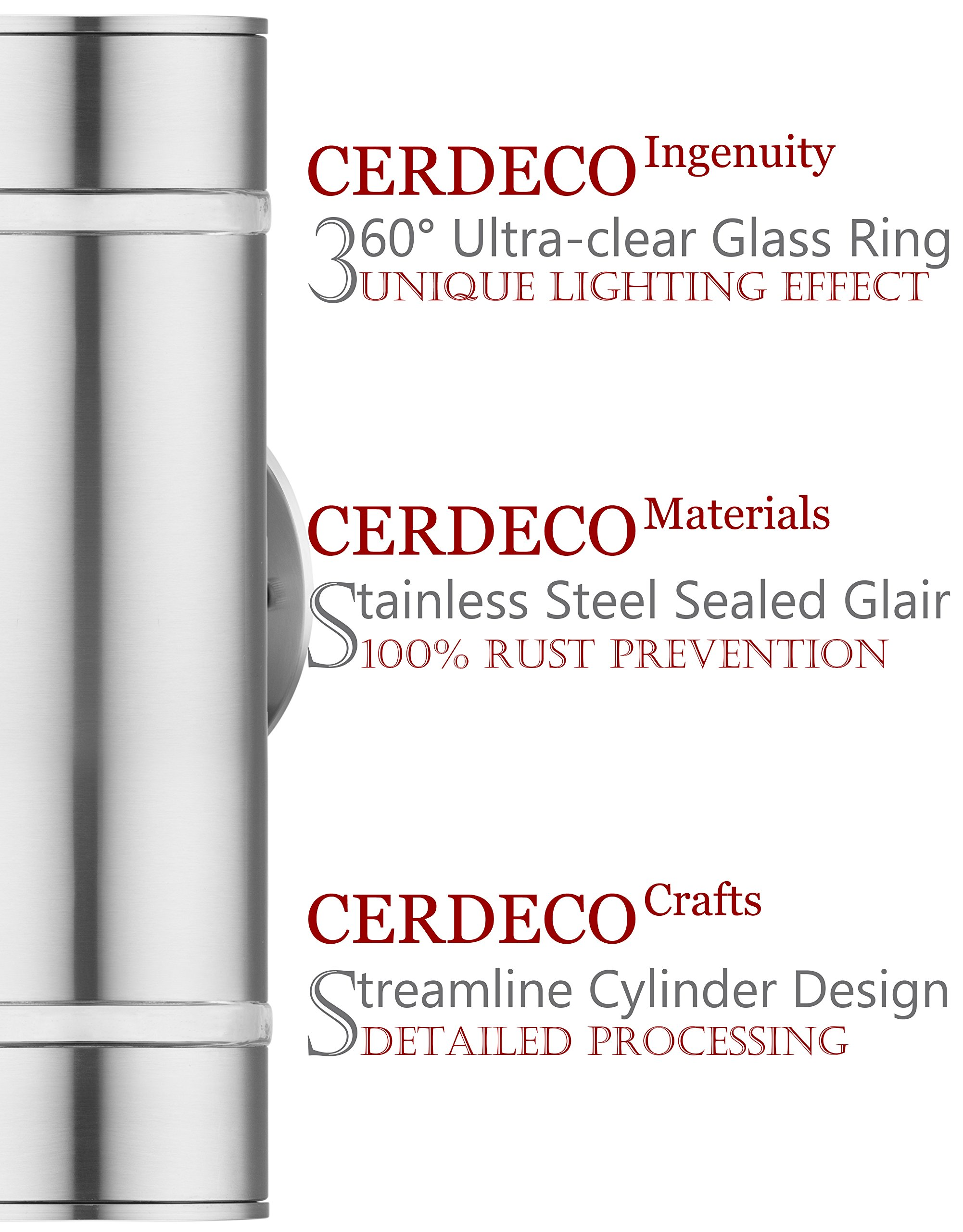 """Cerdeco Aureole-Series Modern Porch Light [ UL-Listed ] Stainless Steel Satin Nickel Finished Outdoor Wall Lamp Weather-Proof Cylinder Wall Sconce Suitable for Garden & Patio - ◆ Cerdeco contemporary streamlined design. Made of superior stainless steel & satin nickel finished. ◆ Weather proof & rust resistant (IP 64). Adapt to kinds of general weather conditions. ◆ Hard-Wired. 100v-220v available. Size: D:4"""" x H:12.6"""". Use 2*E26/E27 bulbs (Not Included). - patio, outdoor-lights, outdoor-decor - 810IOaKlMPL -"""
