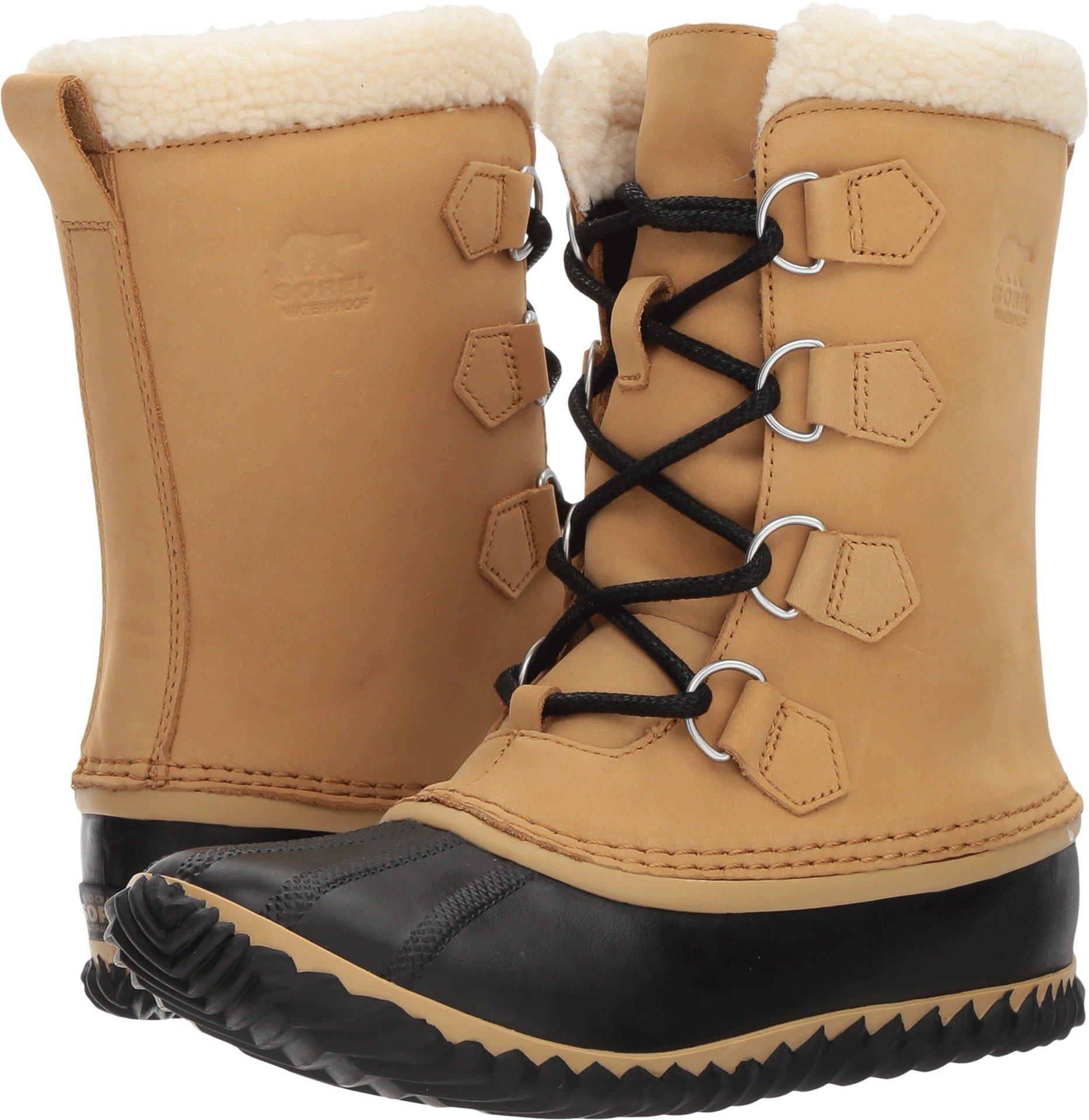 SOREL Women's Caribou Slim Rain Boot, Size: 8.5 B(M) US, Color Curry/Black