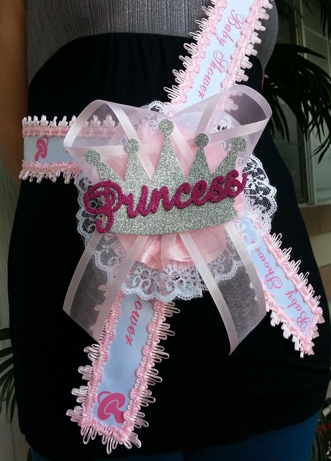 Baby Shower Mom To Be It's a Girl Sash with Princess Crown Pink Ribbon Corsage by PRODUCT 789 (Image #3)