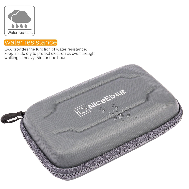 NiceEbag EVA Portable Electronics Accessories Carrying Storage Case Power Bank USB Data Cords Multiple External Hard Drive Healthcare Grooming Kit Travel Bag (Grey) by NiceEbag (Image #2)