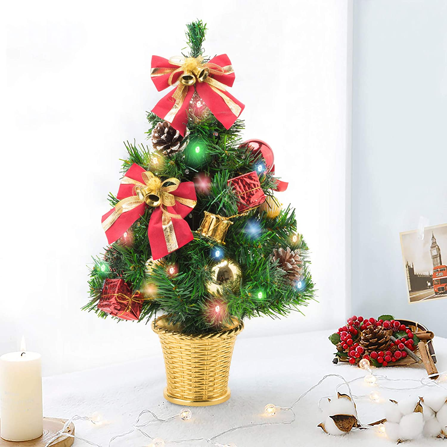Amasava Small Christmas Tree 45cm Pre Lit Christmas Tree With Multi Colour Led Lights Mini Desktop Xmas Trees Decorated With Ornaments Pinecones And Bowknots Small Gift Box Christmas Baubles In Gold Amazon Co Uk