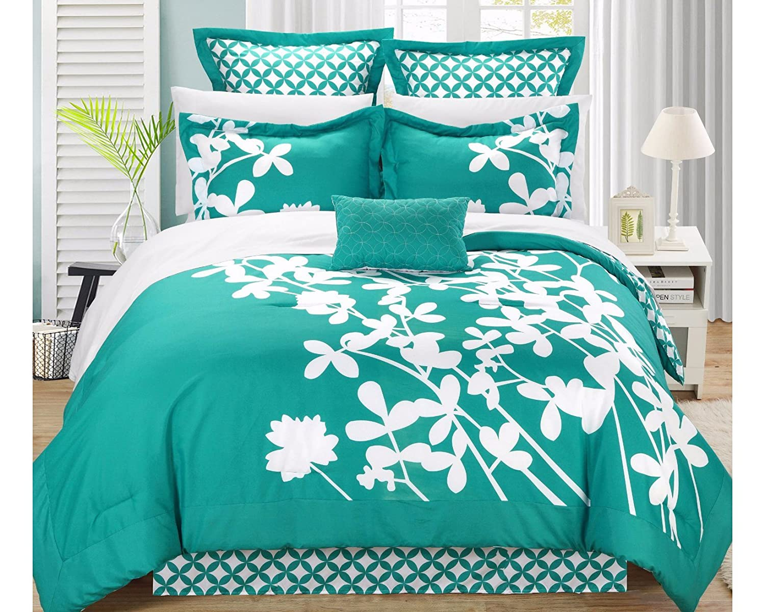 Amazon.com: Iris 11 Piece Comforter Set King Size, Turquoise; Sheet Set,  Bedskirt, Four Shams And Decorative Pillow Included: Home U0026 Kitchen