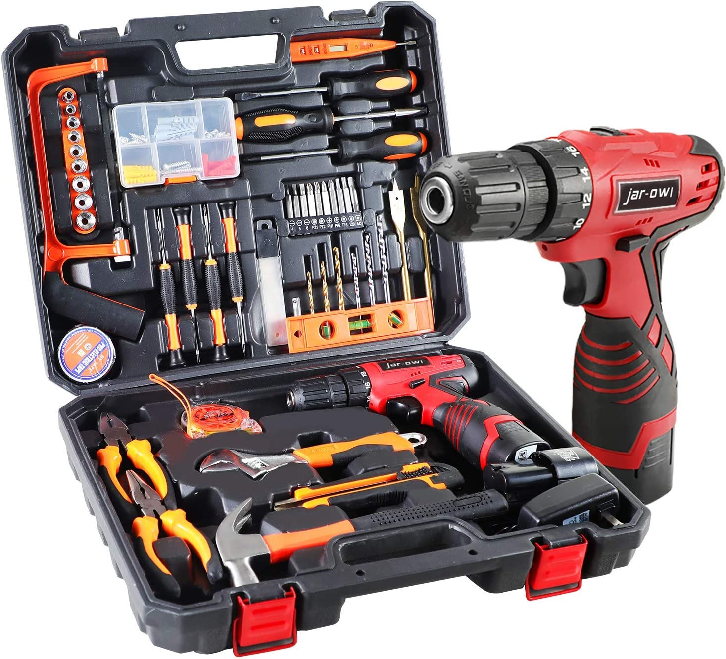 108 Piece Power Tool Combo Kits with 16.8V Cordless Drill, Household Tools Set with DIY Hand Tool Kits for Garden Office Home Repair Maintain-Black/Red