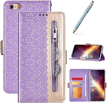 Robinsoni Custodia Compatibile con iPhone 6S Plus Cover Custodia a Libro con Cerniera iPhone 6 Plus Cover Portafoglio Pelle Antiurto Cover Silicone ...
