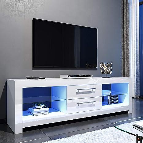 Elegant 1600mm Led Tv Cabinet Modern White Gloss Tv Amazon Co Uk