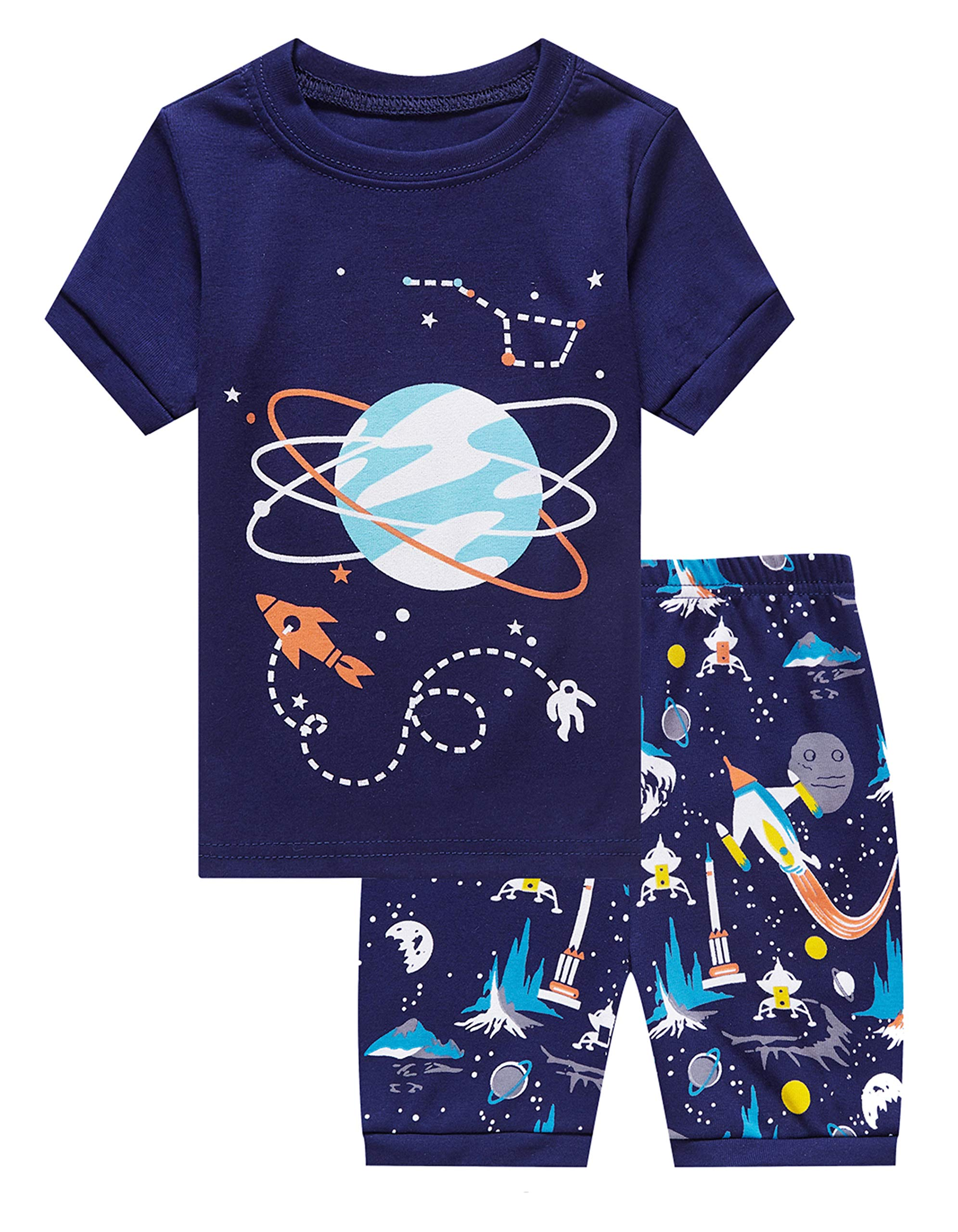 Family Feeling Big Boys Space Pajamas Short Sets 100% Cotton Kid 12